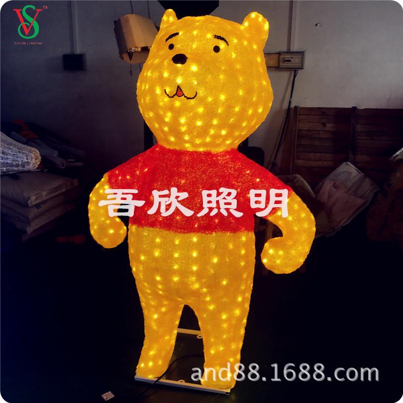 Christmas decoraion led Acrylic 3D Pooth Bear scupture lights
