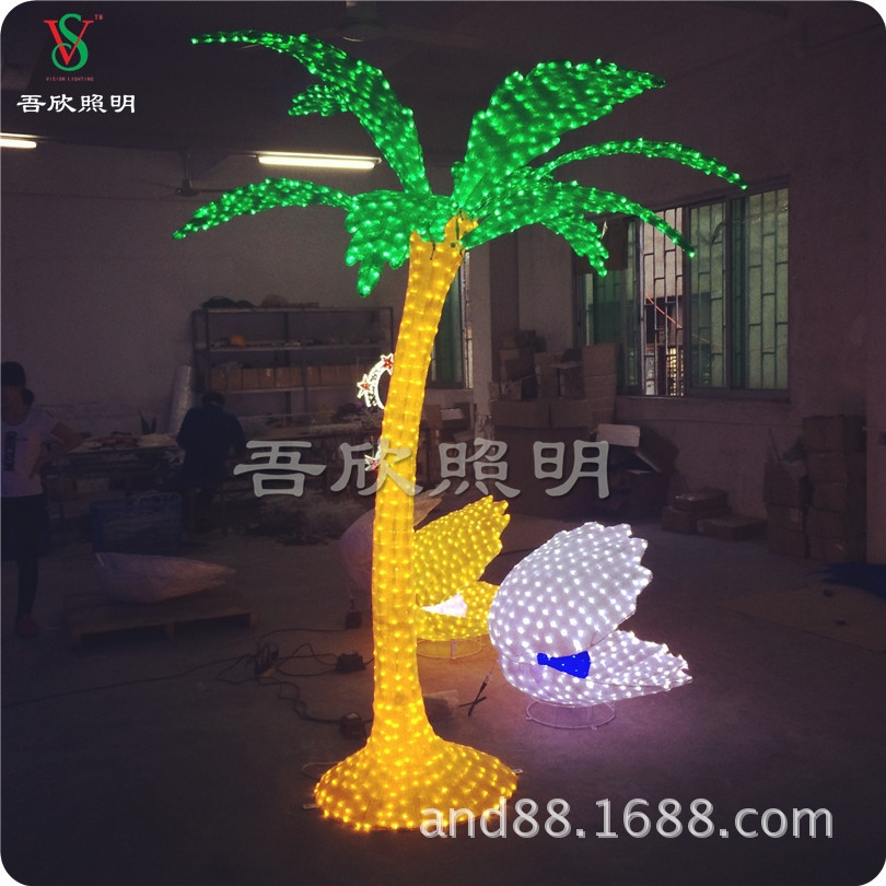Artificial 3D coconut tree acrylic motif light