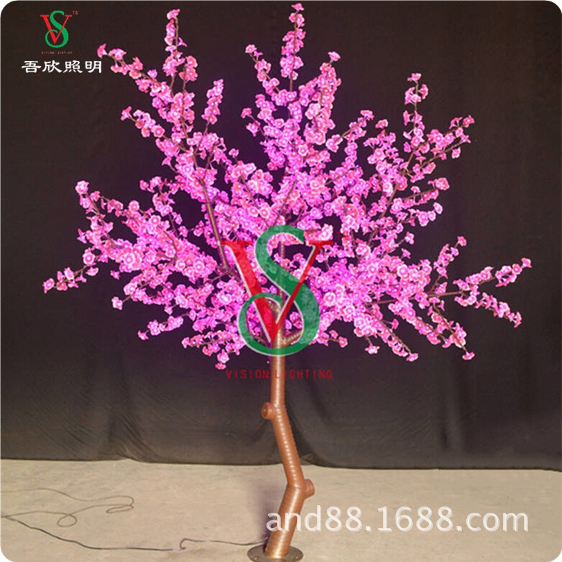 Pink color led lighting cherry tree blossom