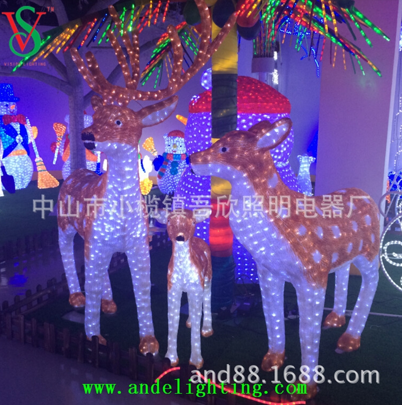 Christmas decorative lighted reindeer 3D acrylic deer lights