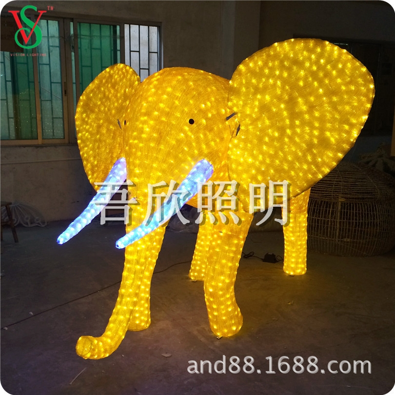 Acrylic Giant big 3D elephane motif light for holiday decoraions