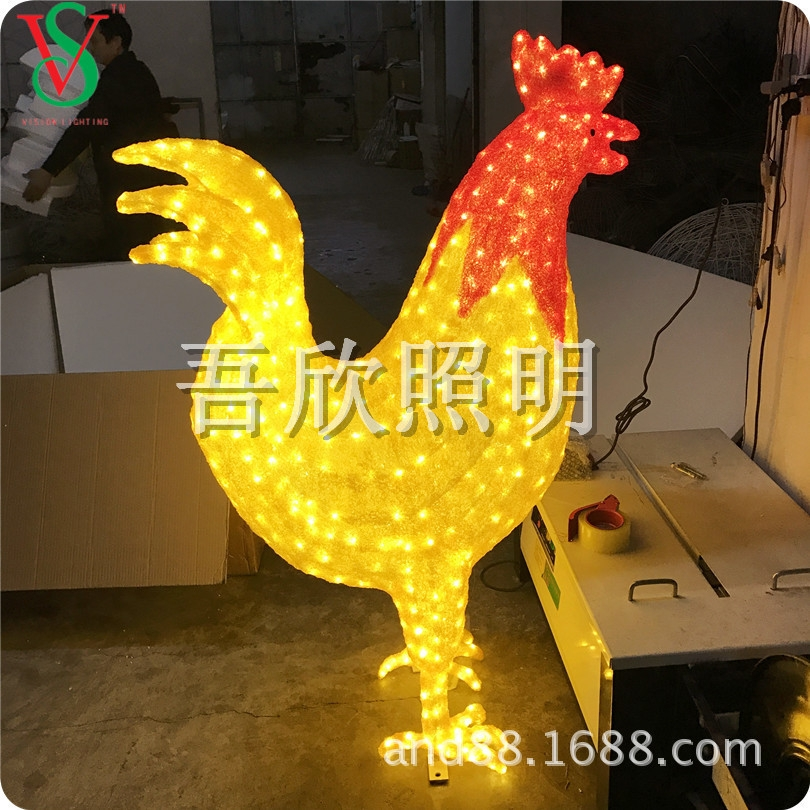 3D giant Christmas decorative motif rooster lights