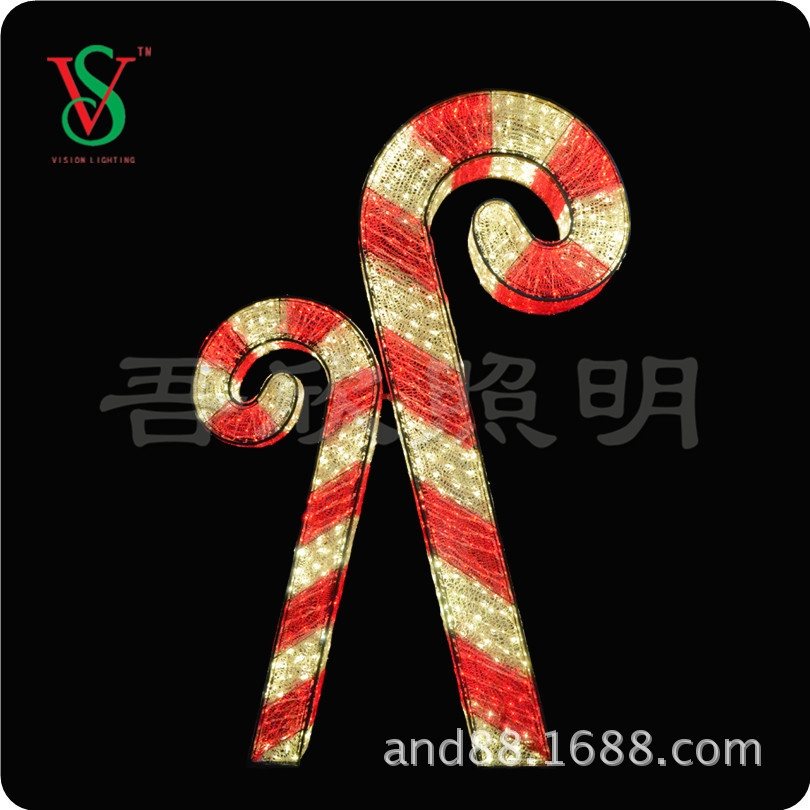 Christmas decoration lights 3D sculpture candy cane