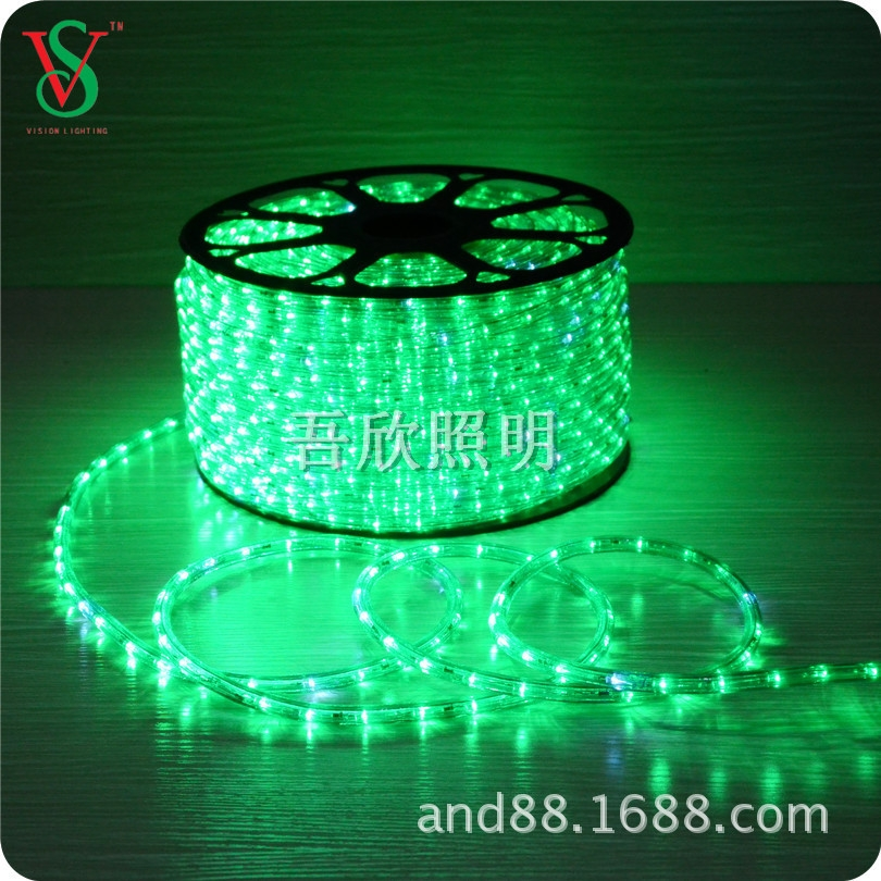 green color 2wire round shape led rope light